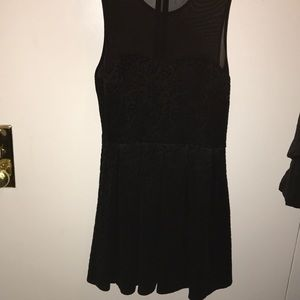 Forever 21 black dress with mesh back and pleats
